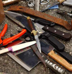 What happens to weapons confiscated at the airport?