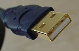 "A typical USB connector, called an ""A"" connection"
