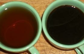 A weak solution of coffee, as shown on the left, is perfect.