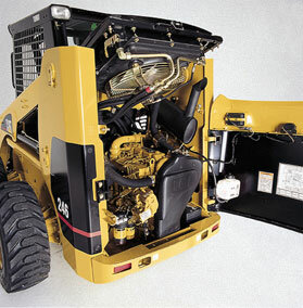 The engine compartment opens wide for easy maintenance access.