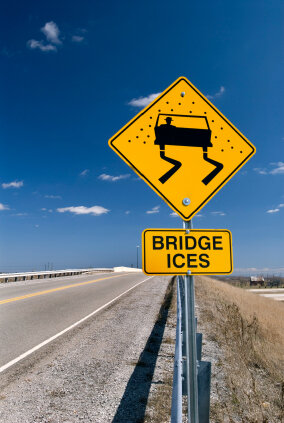 Bridges often accumulate ice before roads do.