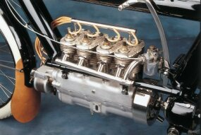 The 700-cc flathead four was of T-head design, with the intake and exhaust valves on opposite sides fo the cylinder.