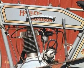"A tall lever on the left side of the tank activated the ""Free Wheel Control,"" Harley's early clutch system."