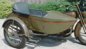 Sidecars were common at the time, as motorcycles were often relied on as family transportation.