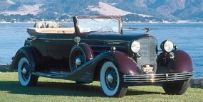 This striking 1933 Cadillac Sixteen convertible was one of just 125 Sixteens Cadillac was able to sell in that Depression year. The typical Cadillac Sixteen cost about $7,000 in 1933.