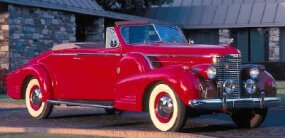 "Cadillac introdued a ""second-series"" Sixteen with a new short-stroke engine    for 1938. The 1939 Cadillac Sixteen convertible is pictured here."