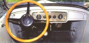 The car's instrument panel had a simple design.