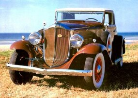 The 1932 Packard Light Eight was available in coupe roadster and sedan, rumble-seat coupe, and four-door sedan. Shown is a coupe roadster.