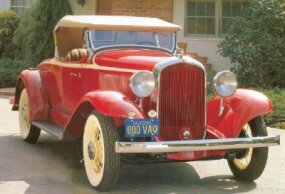 The 1932 Plymouth PB Sport Roadster featured a one-piece front fender.