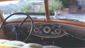 Essential gauges were centered in the dash in typical early-1930s fashion.