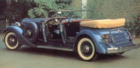 When not in use, the convertible top of the Packard Twelve Sport Phaeton stows neatly.