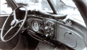 Horned ducts atop the symmetrical dashboard fed the 1935 Peugeot 402's optional heater/defroster.