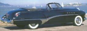Despite all-new styling, production of the 1949 Roadmaster convertible dropped to 8,244 units.
