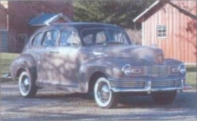 The most popular 1948 Nash style was the fastback four-door sedan, shown here in Custom trim.
