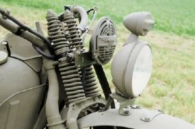 A special shock-and-spring front suspension was added to the World War II Harley-Davidson XA.