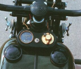 The 741 had a stand-alone speedometer mounted to the fork, while this gauge on the tank kept track of the battery's charge.