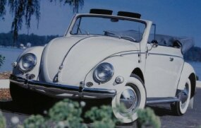 Karmann coachworks began building Beetle convertibles in 1949. Pictured is a 1956 Volkswagen Beetle cabriolet by Karmann. It seated four.