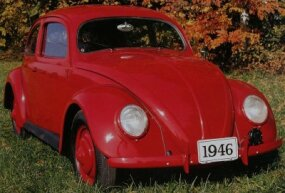 VW built nearly 8,000 1946 Volkswagen Beetles, though they were not yet for sale to civilians. Note the absence of chrome trim on this 1946 Beetle.
