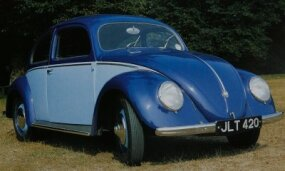 Finally on sale to the public, the 1947 Volkswagen Beetle sported chrome trim and available two-tone paint. The 1947 Beetle had 25 horsepower.
