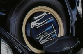 Efficient use of space: The 1949 Volkswagen Beetle housed a toolkit in the wheel center of its spare tire. The spare was in the front luggage compartment