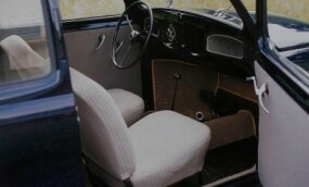 A spartan interior greeted buyers of the 1949 Volkswagen Beetle Standard model. The dashboard held two door-less gloveboxes.