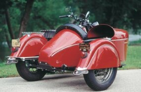 Indian's nicely designed one-passenger sidecar made its debut as a option in 1940.