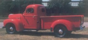 The 1948 International KB-2 pickup shown here sports the optional Knox box,­ which included a heavy-duty checker-plate grain bed.