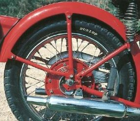 The sprung rear hub, first offered in the 1947 model, afforded only about one inch of wheel travel -- hardly a substitute for a good swingarm suspension.