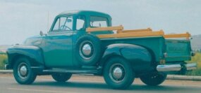 Features of the 1948-1950 Chevrolet Series 3100 half-ton pickup included advances such as interior door locks, better steering, and a roomier cab.