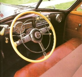 The interior carried on the wood motif from the wagon's body.