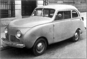 A copper-block four-cylinder engine powered early postwar cars like this 1946 Crosley two-door sedan.