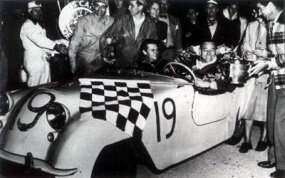 Ralph Deshon wins the Sam C. Collier Memorial Trophy after a 1951 endurance race in a Hotshot.