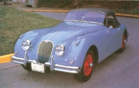 "Last of the XK line was the more ""matronly"" 150, represented here by a 1958 drophead."
