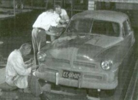Clay modelers hone Bob Gregorie's idea for what would now be a 1949 Ford.