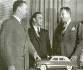Ford brothers (from left) Benson, William, and Henry II enjoy the success of the 1949 Ford.