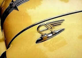 "A winged ""A"" was perched above each headlight on the 1950 Austin A90 Atlantic Convertible."
