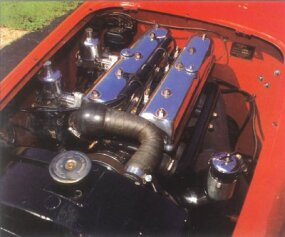 The 1950 Healey Silverstone was powered by a 2.5 liter four-cylinder engine.