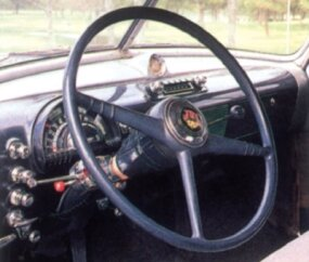 A look inside the 1950 Oldsmobile Series 76 club coupe.