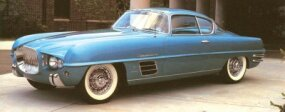 The 1954 Dodge Firearrow Sport Coupe was another variation on the Firearrow theme. Note the token bumperettes and wraparound backlight.