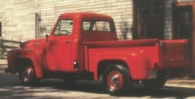 Ford's pitch for the 1955 F-100 pickup targeted comfort as much as utility, though it said a more comfortable truck makes work easier.