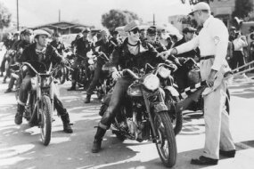 A Triumph Thunderbird was Marlon Brando's mount in the 1954 film, The Wild One.