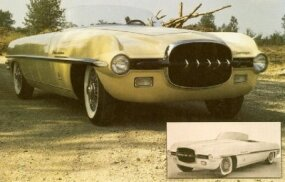 The small factory photo shows how faithfully Joe and Marc Bortz restored the Firearrow II, right down to the original pale yellow paint and black grille bar.