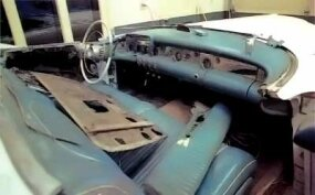 The green leather interior of this 1953 Wildcat had deteriorated badly and needed replacement.