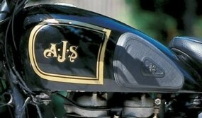 AJS used gold trim; Matchless decorated with silver.