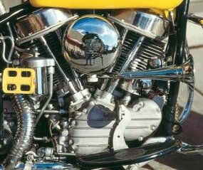 "The FL's ""Panhead"" V-twin engine displaced 74 cubic inches."