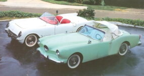 The 1954 Kaiser-Darrin (right) and Chevrolet's Corvette, its principal domestic rival in 1953-1954.