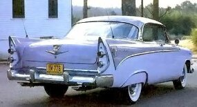 "The ""V"" emblems on the 1956 La Femme stood for Super Red Ram V-8; dual exhausts indicated the 230- or 260-horsepower option."