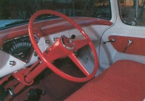 The red-and-white theme was continued inside the 1955 Cameo Carrier.