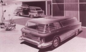 A design study, the GMC Expedier van embraced the Nomad/Safari hardtop styling and slanted B-pillars.