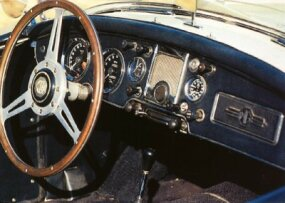 The MGA Twin Cam's dashboard featured a large speedometer and tach.